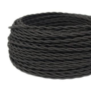 Cavo tessile nero a treccia