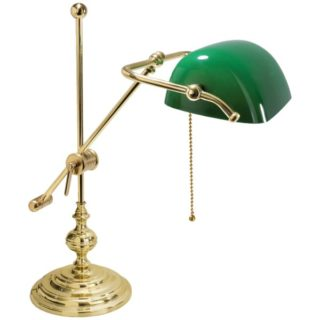 Lampada ministeriale basculante in ottone