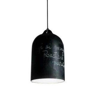 Sospensione a campana in ceramica nero lavagna