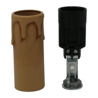 portalampada a candela in plastica E14 anticato altezza 6 cm